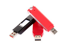 Movimentações do flash do USB isoladas no branco foto de stock royalty free