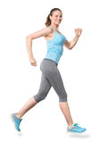 Movimentar-se de corrida da mulher isolado no branco Foto de Stock