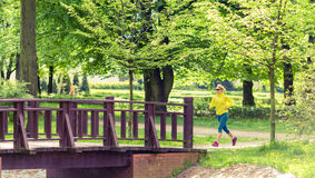 Movimentar-se de corrida do corredor da mulher no parque e em madeiras verdes do verão Foto de Stock