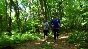 Movimentar-se de corrida no treinamento da mulher da floresta, corredor, movimentando-se, aptidão, vídeo de runner-4k video estoque