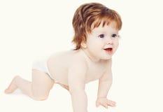 Movimenti striscianti svegli del bambino Fotografie Stock Libere da Diritti