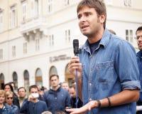 Movimento 5斯特尔,亚历山德罗Di巴蒂斯塔的意大利代理,在的里雅斯特 库存照片