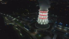 Movimento aéreo à torre refrigerando na carcaça com projetores vídeos de arquivo