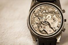Movimento d'annata dell'orologio Fotografie Stock