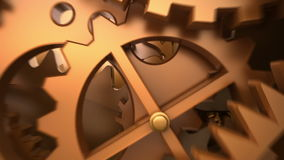 Movimento da câmera através do maquinismo de relojoaria animação 3D ilustração stock