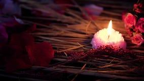 Movimento da metragem da queimadura do ramalhete e da vela da flor do Valentim da decoração vídeos de arquivo
