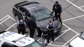 Movimento da polícia que trava um carro roubado no parque de estacionamento filme