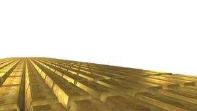 Movimento de barras de ouro em um fundo branco com canal alfa video estoque