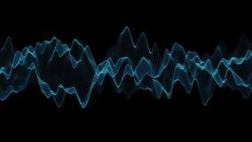 Movimento de onda azul abstrato com fundo preto Linha e conceito abstratos da tecnologia ilustração royalty free