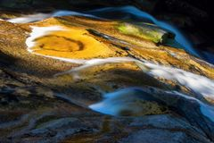 Movimento de rotação da água no rio Mumlava da montanha, república checa imagem de stock