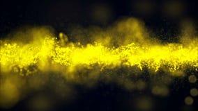 Movimento dell'oro del fondo Polvere di oro dell'universo con le stelle su fondo nero Estratto di moto delle particelle illustrazione di stock