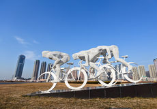 Movimento della scultura del quadrato di Xinghai immagine stock