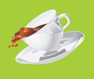 Movimento di una tazza con un piattino Fotografie Stock