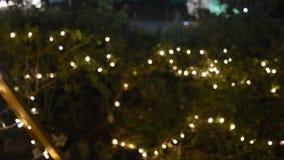 Movimento do movimento de Bokeh colorido de lingthing conduzido no jardim na noite vídeos de arquivo