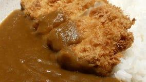 Movimento do frango frito com molho de caril na parte superior video estoque