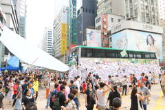 Movimento do guarda-chuva em Hong Kong Foto de Stock Royalty Free