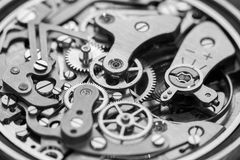 Movimento do relógio do vintage no tom de B/W Foto de Stock Royalty Free