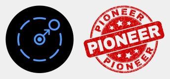 Movimento do vetor circundar o ícone do perímetro e o selo pioneiro do Grunge ilustração do vetor
