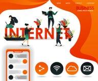 Movimento dos jovens entre as palavras INTERNET pode usar-se para, página aterrar, molde, Web, app móvel, cartaz, bandeira, inset ilustração stock