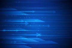 Movimento e mosso ad alta velocità sopra fondo blu scuro Futuristico, ciao concetto di tecnologia di tecnologia illustrazione vettoriale
