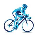 Movimento estilizado na moda da ilustração, raça de bicicleta, linha silhueta do vetor Foto de Stock Royalty Free