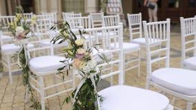 Movimento lento da decoração exterior luxuosa do casamento video estoque