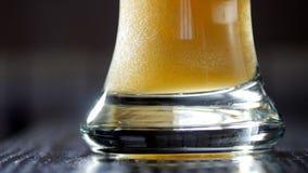 Movimento lento de derramar a cerveja clara no vidro Vídeo de UltraHD filme