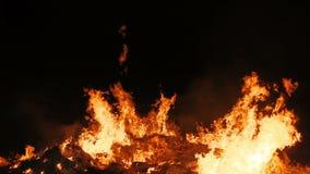 Movimento lento della fiamma reale di un fuoco enorme stock footage