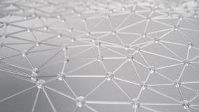 Movimento lento della struttura molecolare al livello di atomi Movimento lento della maglia triangolare con le particelle Concett video d archivio
