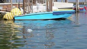 Movimento lento do voo da gaivota sobre a água no canal de Veneza com saco de lixo video estoque