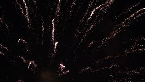 Movimento lento variopinto del cielo notturno dei fuochi d'artificio video d archivio