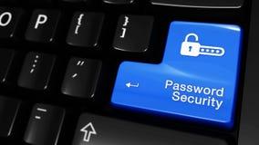 Movimento movente da segurança da senha no botão do teclado de computador