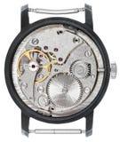 Movimento a orologeria d'acciaio di vecchio orologio isolato Immagini Stock
