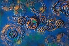 Movimento a orologeria meccanico delle ruote dei denti del fondo fatto a mano dello steampunk Fotografia Stock Libera da Diritti