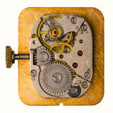 Movimento a orologeria su fondo bianco Fotografie Stock Libere da Diritti