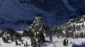 Movimento a?reo do zang?o em torno de um penhasco em uma montanha nevado entre a floresta vídeos de arquivo