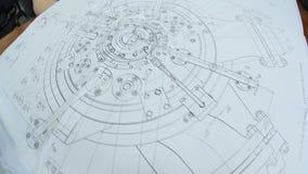 Movimento sobre o desenho moderno do compressor na tabela na sala clara ilustração stock
