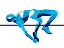 Movimento stilizzato d'avanguardia dell'illustrazione, atleta di salto in alto composto di forma di onda illustrazione vettoriale
