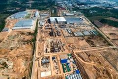 Movimento terra e costruzione di sviluppo del territorio della zona industriale, Fotografia Stock Libera da Diritti