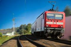 Movimento vermelho do trem borrado Imagem de Stock Royalty Free