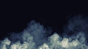 Movimentos azuis abstratos do vapor do fumo em um fundo preto O conceito da aromaterapia fotografia de stock royalty free