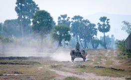 Movimiento asiático del carro de los paseos del hombre en la carretera nacional Imagenes de archivo