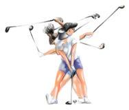 Movimiento complejo de un jugador de golf ilustración del vector