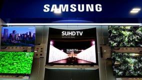 Movimiento de la exhibición Samsung TV en venta almacen de video