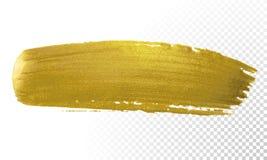 Movimiento de la pintura del cepillo del oro Mancha de oro de acrílico de la mancha del color en el fondo blanco Bandera del oro  stock de ilustración