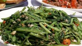 Movimiento de la verdura salteada en salsa del jengibre dentro del restaurante de Tailandia almacen de video