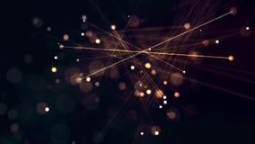 Movimiento de partículas y de líneas que brillan intensamente stock de ilustración