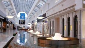 Movimiento del agua de la fuente con hacer compras de la gente de la falta de definición metrajes