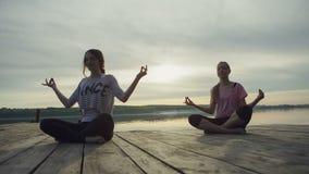 MOVIMIENTO DEL CARRO: Mujer joven dos que hace yoga cerca del lago almacen de video