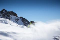 Movimiento del helada de la nieve del polvo que arruina hacia fuera Imagen de archivo